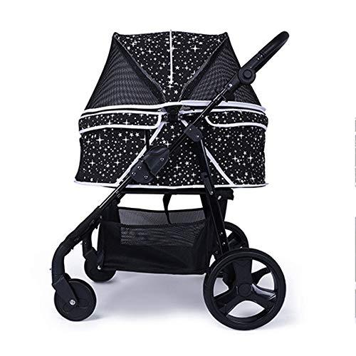Alhj huisdier-kinderwagen voor huisdieren, ademende reistas, opvouwbaar, middelgroot, met 4 wielen