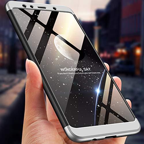 Ququcheng Kompatibel mit Huawei Honor 6X Hülle,3 in 1 Ultra dünn Hard Case Schutzhülle+Panzerglas Schutzfolie 360 Grad Schutz Tasche Shell Cover Handyhülle für Huawei Honor 6X-Silber Schwarz