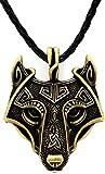 Einzigartige handgefertigt Antik Bronze Wikinger Anhänger Halskette Wolf aus echtem Leder