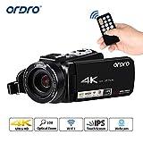 Videocamera 4K, Videocamera ORDRO 4K Full HD con 24 Megapixel, Zoom 10x opt,...