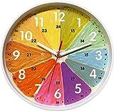 Foxtop Reloj de pared para niños, reloj de pared silencioso de 10 pulgadas, con esfera colorida fácil de leer para niños, escuela, aula, sala de juegos, cuarto de guardería