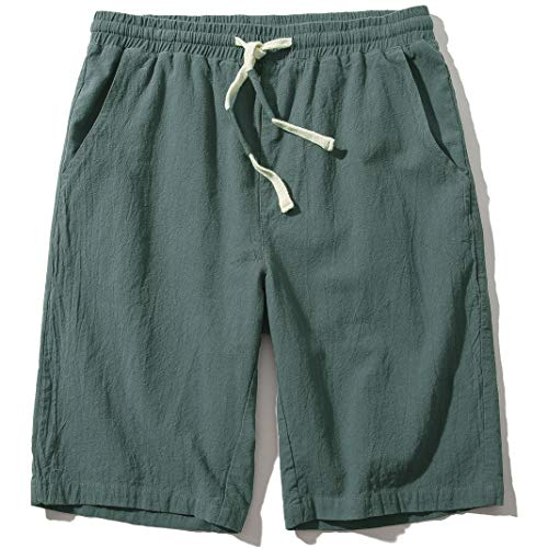 Men's Linen Casual Classic Fit 11 Inch Inseam Elastic Waist Shorts with Drawstring Army Green 2X-Large
