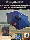 Tommy Bahama 2020 Sand Anchor 7 Feet Beach Umbrella with Tilt and Telescoping Pole (Solid Blue)