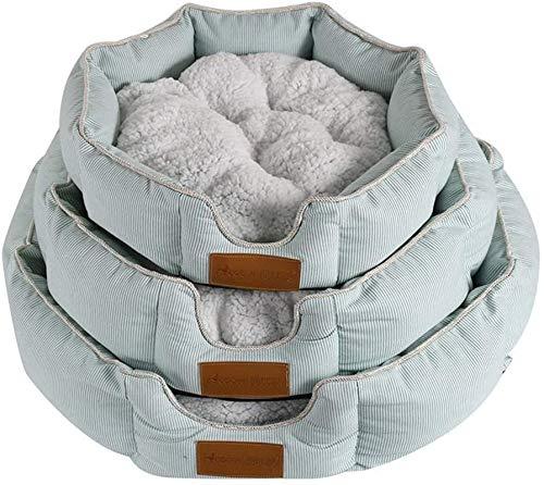 YAOSHUYANG Cama para mascotas, perrera de algodón, cómoda para todas las estaciones, apta para perros y gatos pequeños y medianos, varios tamaños, gris-gris-S (color: gris, tamaño: pequeño).