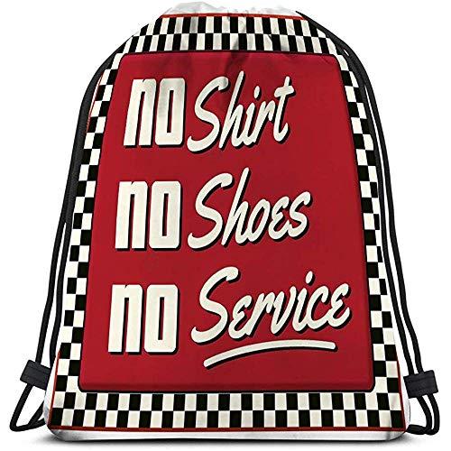 Trekkoord Rugzak Zak, Gym Zak, geen schoenen service diner retro teken restaurant grill cafe metaal rood dambord eet