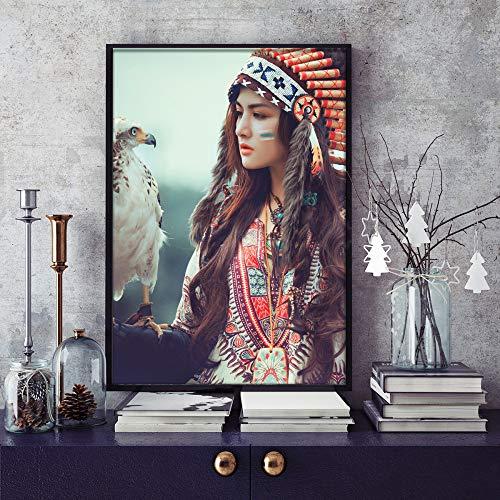 baodanla Sin Marco Indian Beauty y Eagle Home Pintura al óleo A1 50X70CM