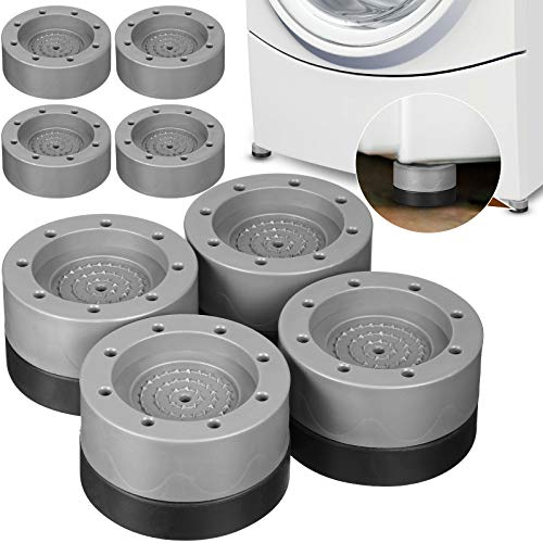 Set of 12 Shock and Noise Cancelling Washing Machine Support Washer and Dryer Anti-vibration Pads Anti Slip and Noise Reducing Rubber Washing Machine Feet Pads for Raise Height Reduce Noise (Gray)