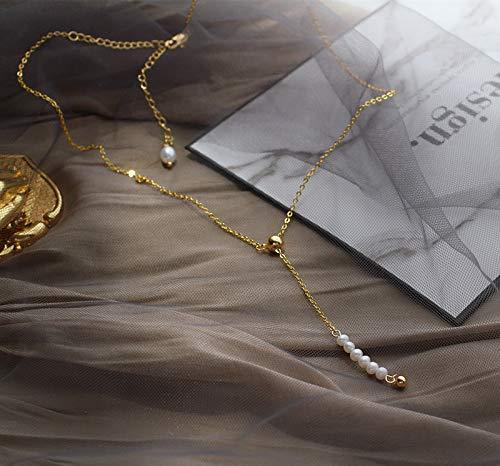 weiqiang Moneda de Oro Chapado en Perlas de Agua Dulce Natural Elegante Collar Corto de Cadena de clavícula Francesa Hembra