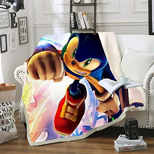 Fgolphd Manta Sonic The Hedgehog con impresión digital 3D para adultos y niños, 100% microfibra, suave y cálida, para sofá y cama (150 x 200,8)
