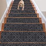 Juego de 14 alfombrillas antideslizantes de goma o alfombra para escalera, para interiores y exteriores, para mascotas, alfombrillas antideslizantes de 20,32 x 76,2 cm, incluye cinta adhesiva (dorado)