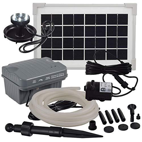 Agora-Tec® at-Solar Bachlaufpumpen - Set 3.5W-BLH monokristallin mit Akku und LED Ring inkl. 5 Meter Bachlaufschlauch und LED Halter, Förderhöhe: 1,00 m bei Verwendung eines Schlauches