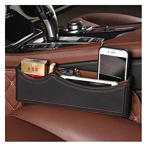 High Class PU Leather Car Seat Gap Filler, Car Console Side Pocket Seat Catcher Organizer (Black Red)