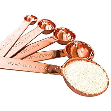 Copper Measuring Spoons For Your Rustic & Farmhouse Kitchen Decor, Superior Strength & Beautiful Finish, Unique Accessories, Baking Supplies, Cooking Tools, A Lovely Gift, Comes Attractively Boxed