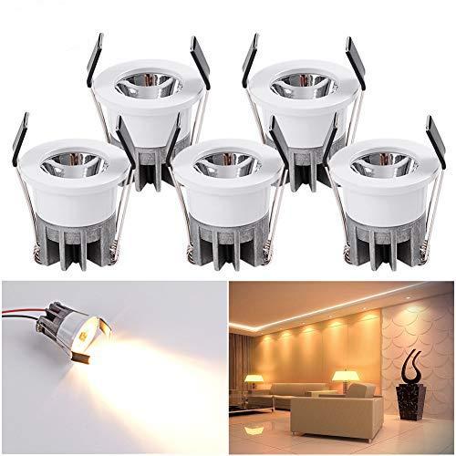 5 mini faretti da incasso a LED, 3 W, luce bianca calda, da incasso, in alluminio, per armadio/cucina/soggiorno[classe energetica A++]