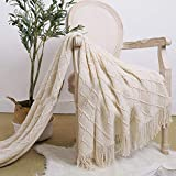 LALIFIT Throw Blanket with Tassel Solid Soft Sofa Couch Cover Decoration Knitted Blankets Gifts for Home Decorate 50' x 60'(Beige Diamond Lattice)