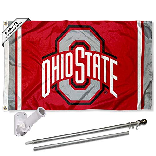 College Flags & Banners Co. Ohio State Buckeyes Stripes Flag with Pole and Bracket Kit