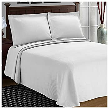 SUPERIOR Cotton Bedspread and Pillow Shams - Jacquard Matelassee Coverlet Cotton Quilt White Twin Size