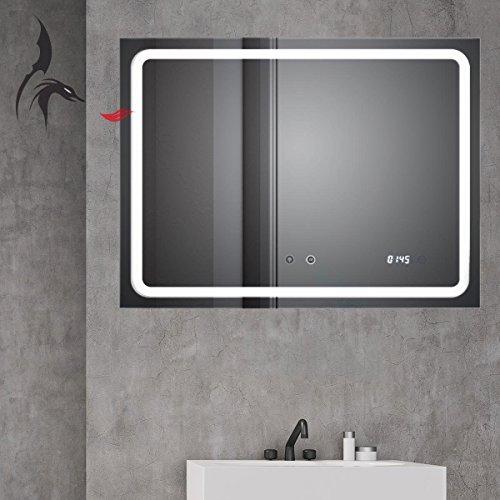 HOKO® Badspiegel mit ANTIBESCHLAG SPIEGELHEIZUNG und Digital Uhr, Zwickau 80x60cm, Badezimmerspiegel mit LED, Energieklasse A+ (WEEE-Reg. Nr.: DE 40647673)