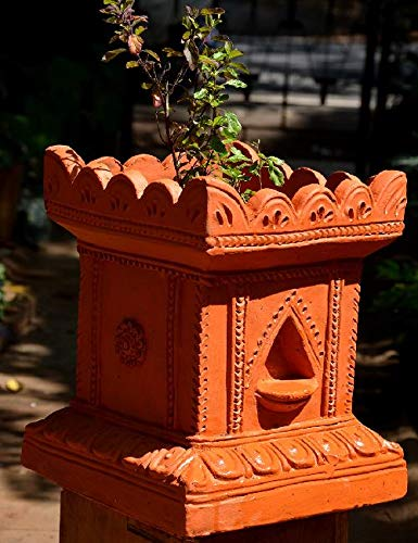 Village Decor Handmade Terracotta Clay Gardening/Brindavan Tulasi/Tulsi Pot/Ocimum tenuiflorum/Ocimum Sanctum/holy Basil Plant Container Indoor- Outdoor Planter (BH - 1012 inch)