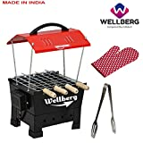 Wellberg Small Electric & Charcoal Barbeque (2 in 1 BBQ) 4 Skewers Multi