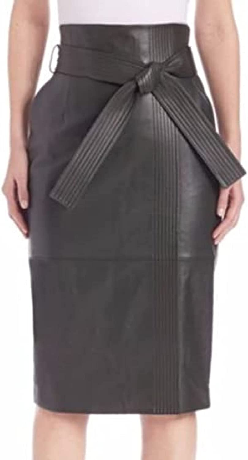 D DOLLY LAMB Leather Pencil Skirt for Women Below The Knee - Regular Use Skirt