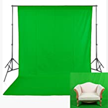 FHZON Green Screen Backdrop Without Stands Polyester Fabric Machine Washable Background Solid Color Pure Photography Photo Video Studio Booth Props 5x7ft YFH003