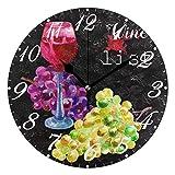 Jacque Dusk Reloj de Pared Moderno,Copas De Vino Tinto Uvas,Grandes Decorativos Silencioso Reloj de Cuarzo de Redondo...