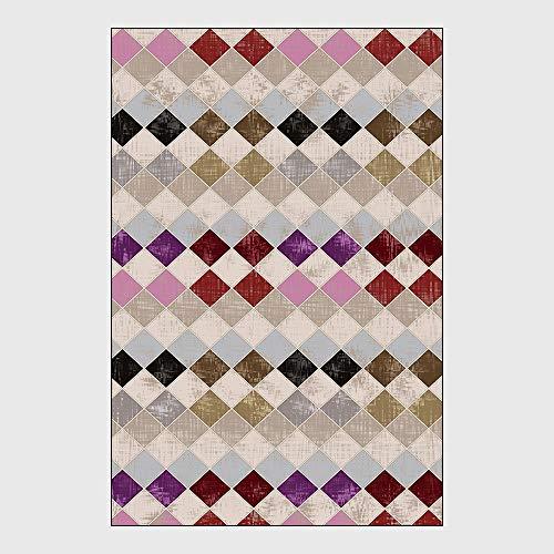 Teppich Wohnzimmer Groß 160 * 230 Cm Retro-Gitter Mit Geometrischem Mosaik Im Europäischen Stil Teppich Modern Shaggy Carpet Schlafzimmer Küche Nachttisch Teppichmatte,2,45 * 75cm
