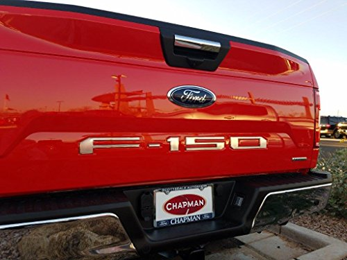 Complete Appearance Tailgate Insert Letters for 2018-2020 Ford F150 (Satin Chrome with Bright Chrome Border)