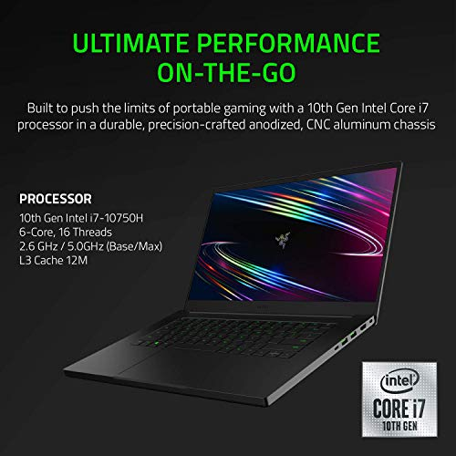 Razer Blade 15 Gaming Laptop 2020: Intel Core i7-10750H 6-Core, NVIDIA GeForce RTX 2060, 15.6