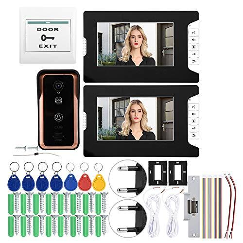 DAUERHAFT Intercomunicador con cámara RFID IR 7in 2V1 Monitores Videoportero con(European Standard (100-240v))