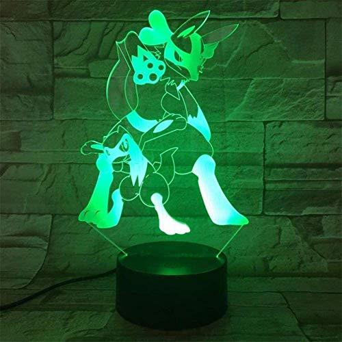 3D-Illusion-Tischlampe, 16 Farben, wechselndes Nachtlicht mit Fernbedienung, Geburtstagsgeschenk für Jungen Pokemon Lucario