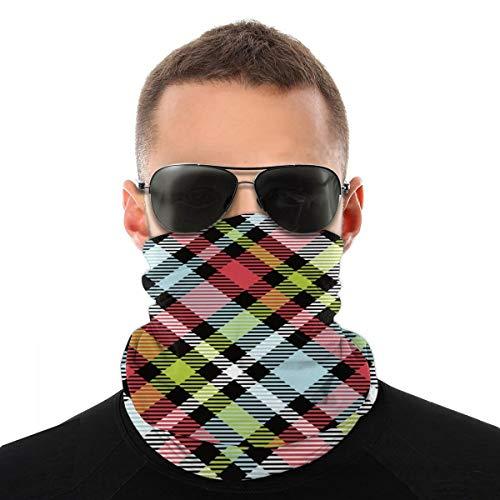 Colorido patrón de cuadros gorro, protector para la cara, pasamontañas, cuello polaina.