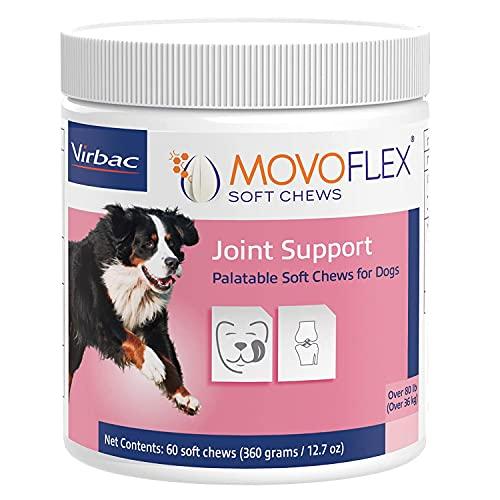 Virbac MOVOFLEX Support de Hanche et d'articulation pour Chiens de Grande Taille – Formulé par Les vétérinaires – Peut être mâché par Jour – sans Gluten – 60 friandises Souples à mâcher