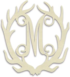 UNFINISHEDWOODCO 300546 Antler Monogram M Decorative Piece