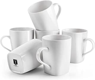 Y YHY 16 Ounces Porcelain Coffee Mugs, Large White Mug Set for Coffee, Tea, Cocoa, Set of 6, Rounded Square Mouth