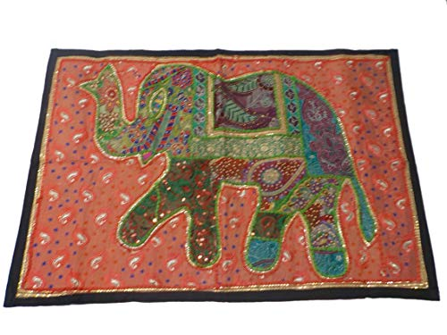 India colors. Camino de Mesa (badmeri Elefantes peq), Mantel Decorativo, pie Cama, Tapiz Pared. Hecho a Mano en India. Bordadas...