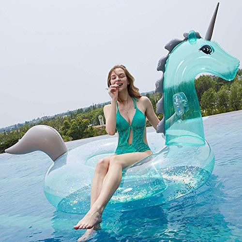Much-Green Inflable Unicornio Flotador Gigante(Lentejuelas Transparente) Colchoneta Hinchable de la Piscina Juguete Conveniente para Fiesta Piscina de Playa Verano Adultos y Niños Utilización