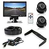 """Pyle Backup Camera System with 2 Weatherproof Cams & 7"""" Rear View Dash Mount Monitor - Night Vision, Full Color Video Security for Truck, Van, Vehicle"""