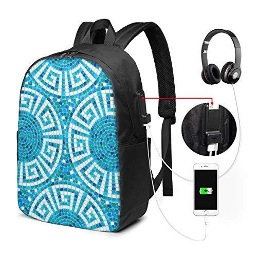 Schulrucksack Mit USB Port Jungen Mädchen Teenager, Rucksack Schule Laptop Rucksack für Herren Damen Daypacks für 15,6 Zoll Laptop Rucksack Pool Mosaic Ceramic Geometric