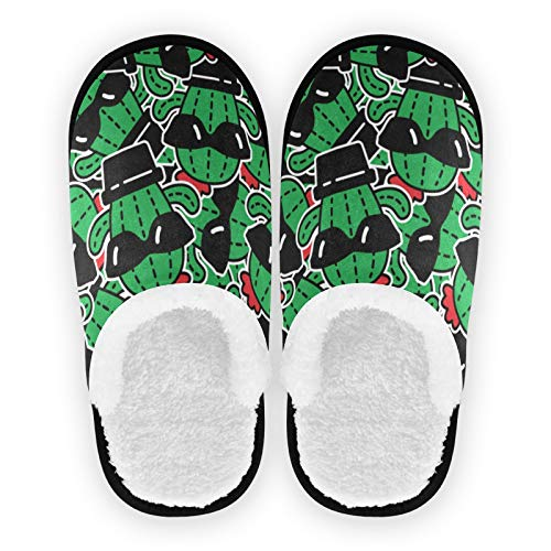 Mnsruu Pantuflas para mujer, Cactus en gafas de sol, para hombre, de algodón, suaves, para el hogar, M, color, talla 37/39.5 EU