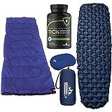 Outdoorsman Lab Ultralight Sleeping Pad with Pillow, Lightweight Sleeping Bag and ZenMen Tick Immune Support