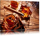 Edler Whiskey mit Zigarre Format: 80x60 auf Leinwand, XXL