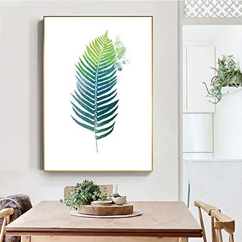 QAZEDC Canvas print decoratief schilderij Groen Fijn Blad Plant Canvas Schilderen Mosterd Groen Poster en Print voor Woonkamer Slaapkamer Nordic Wall Art