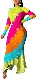 LKOUS Women's Crop Top Split Maxi Dress 2 Pieces Floral Print Outfits Dress