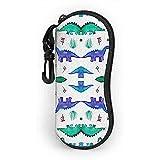 lymknumb Glasses Case Dinos Pattern Base White Shop With Carabiner Ultra Light Portable Neoprene...
