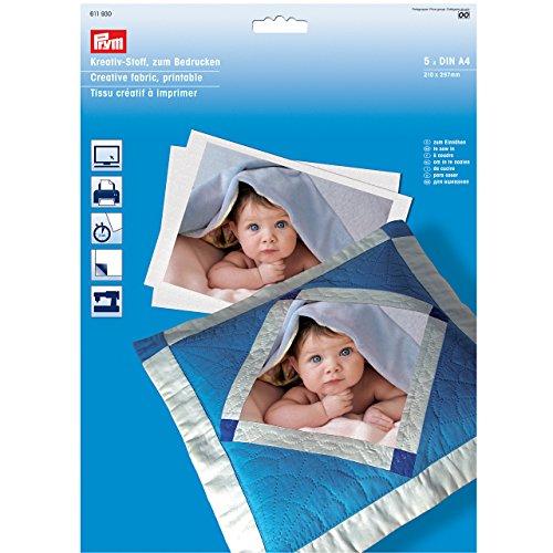 Prym 611930-Kreativ-Stoff zum Bedrucken, Baumwolle, weiß, 5 Bogen A4