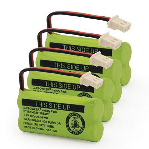 BT183342/BT283342 2.4V 400mAh Ni-MH Battery Pack Compatible with AT&T VTech Cordless Phone Batteries BT166342/BT266342 BT162342/BT262342 (4 Pack BT183342)