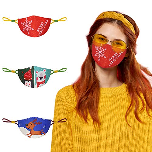 Face Mask for Small Size Adults Women Men, Cloth Face Mask Reusable Washable, Breathable Cotton Mask with Adjustable Ear Loops and Cute Pattern