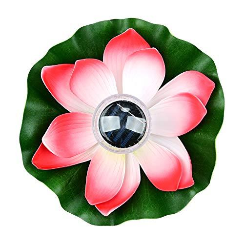 Lychee Solarbetriebene Lotus Laterne,Solarlampen für außen,Wasserdichte LED Garten Pool Licht,Künstliche Lotus Seerose Licht für Garten Hof, Schwimmbad, Brunnen und Aquarien (Rot)